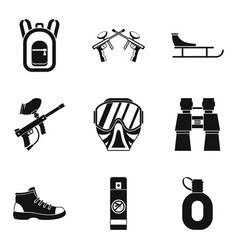 paintball gun icons set simple style vector image