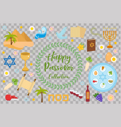 passover icons set flat cartoon style jewish vector image vector image