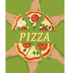 Pizza pieces in hand vector