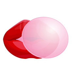 Red female lips blowing bubble gum isolated vector