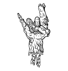 rock zombie hand heavy metal sign rock gesture vector image