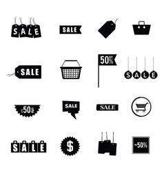 sale tag shopping in black and white color vector image