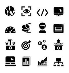 seo icons set vector image vector image
