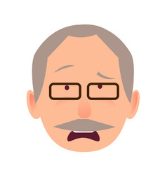 Sorrowful face emotion on elderly man head vector