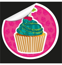 Sticker cupcake with pattern silhouettes backgroun vector
