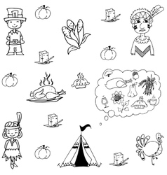 Thanksgiving doodle set flat vector