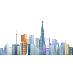 The construction of many buildings vector image