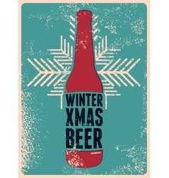 Typographic retro grunge Christmas beer poster vector image vector image