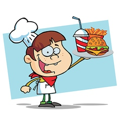 White Burger Boy Holding Up A Cheeseburger vector image vector image