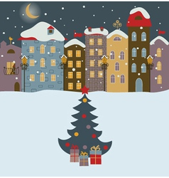 Winter town with christmas tree vector