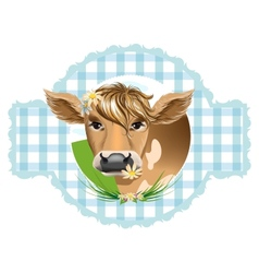 Cow with flower vector