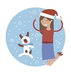 Winter card happy girl with her pet dog jumping vector