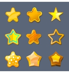 Glossy gold cartoon star icons for game ui vector image