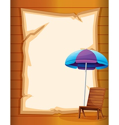 A paper with a beach chair and umbrella vector