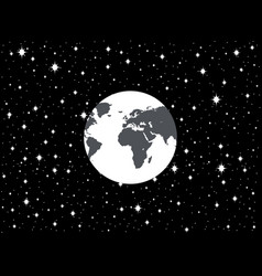 Planet earth and space in a flat style vector