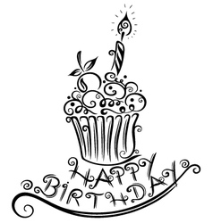 Birthday muffin cupcake vector