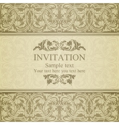 Baroque invitation beige vector