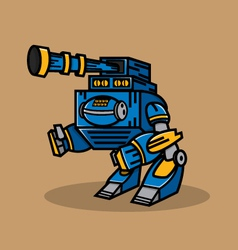 Blue cannon robot vector