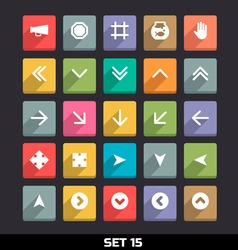 Trendy Icons With Long Shadow Set 15 vector image
