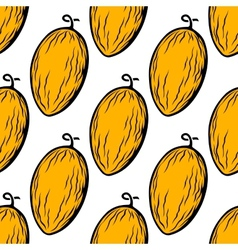 Yellow melon fruit seamless pattern vector