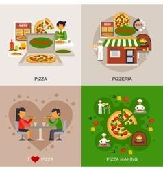 Pizzeria Concept Icons Set vector image