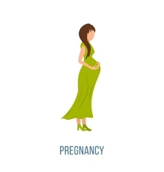 Beautiful pregnant woman in a long dress vector