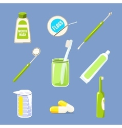 Dentist icons and teeth care collection vector