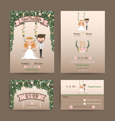 Rustic wedding cartoon bride and groom couple vector