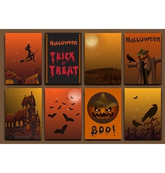 Halloween cards baners design set with pumpkin vector image