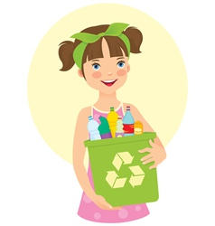 Little girl holding recycling bin vector