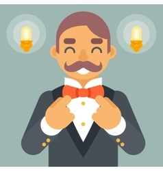Wealthy victorian gentleman businessman character vector