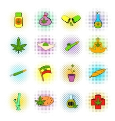 Medical marijuana icons comics style vector