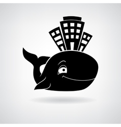 Black stylized house at the whale vector