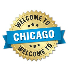 Chicago 3d gold badge with blue ribbon vector