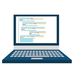 Blue laptop screen graphic vector