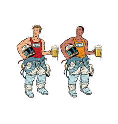 African and caucasian cosmonaut with a beer vector