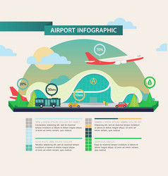 Airplane above airport as transport infographic vector