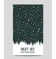 Background with night sky stars and forest hand vector