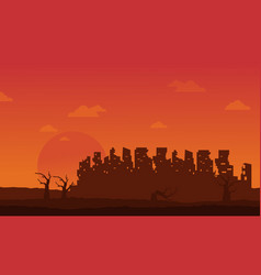 Bad environment with broken city landscape vector