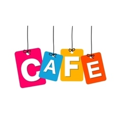 Colorful hanging cardboard tags - cafe vector
