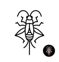 Cricket insect stylized logo vector