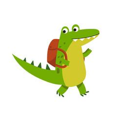 Cute cartoon crocodile character walking with vector