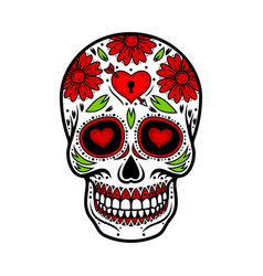 day of the dead skull skull sugar flower vector image vector image