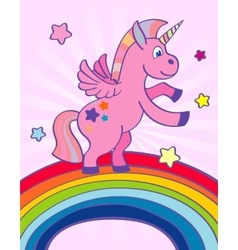 Hand drawn pink unicorn rainbow vector
