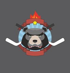 Hockey bear emblem vector