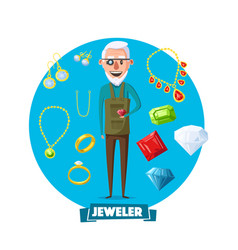 Jeweler man profession and jewelry items vector