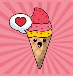 Kawaii ice cream bubble speech image vector
