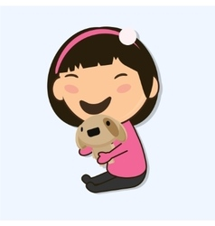 little Asian girl vector image vector image