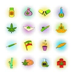 Medical marijuana icons comics style vector image