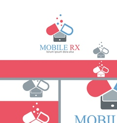Mobile rx pharmacy medicine logo concept design vector